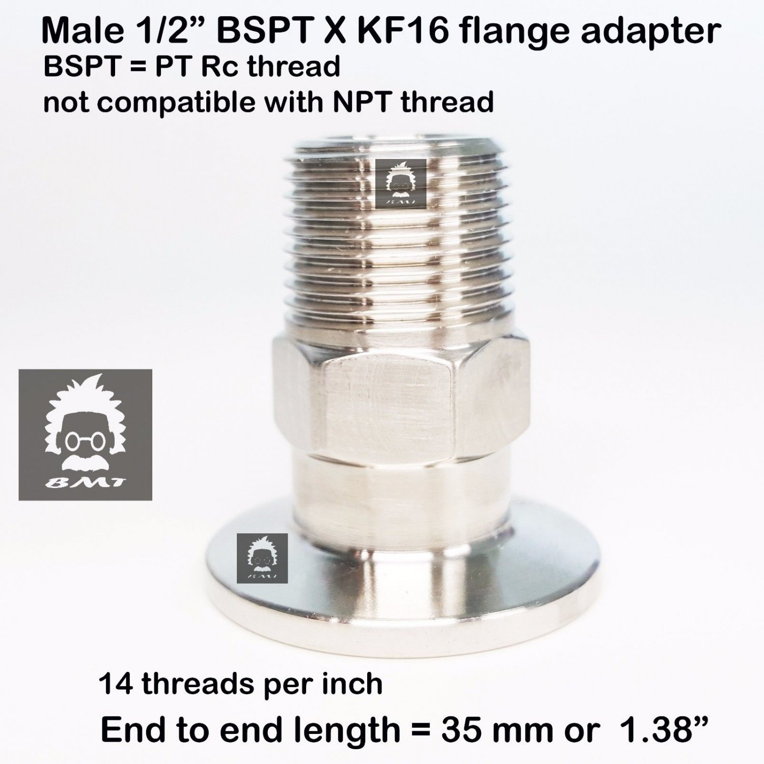 "Male BSPT 1/2"" X KF16 Flange stainless steel vacuum adapter BSPT = PT Rc"