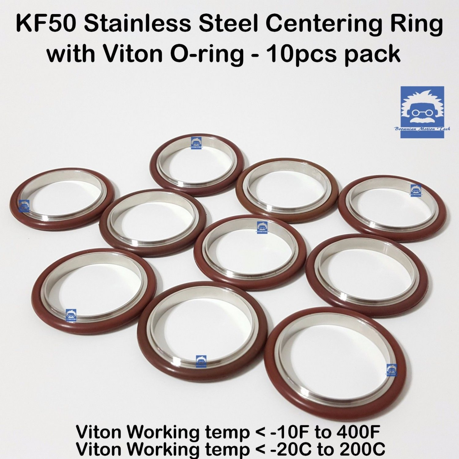 KF50 Stainless steel  vacuum centering Ring with O-ring = Viton (10pcs pack)