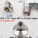 "Female BSPT 1/4"" X KF-25  stainless steel vacuum adapter BSPT = PT Rc thread"