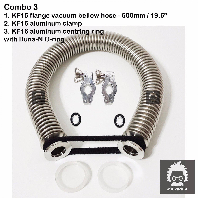 """KF16 flange vacuum bellow hose 500mm 19.6"""" 2 sets Al clampers & O-ring = Buna-N"""