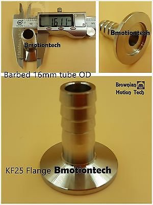 16 mm OD barbed hose X KF25 flange stainless steel vacuum adapter