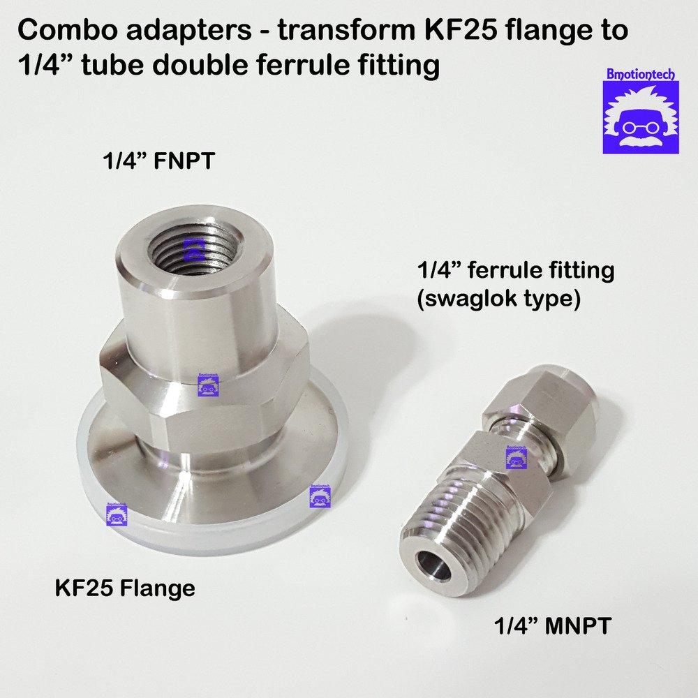 """Combo 2 adapters True 1/4"""" FNPT X KF25 flange + 1/4"""" MNPT X 1/4"""" Double Ferrule"""