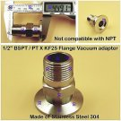 "Male BSPT 1/2"" X KF25 Flange stainless steel vacuum adapter BSPT = PT Rc thread"