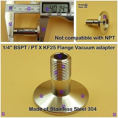 """Male BSPT 1/4"""" X KF25 Flange stainless steel vacuum adapter BSPT = PT Rc thread"""