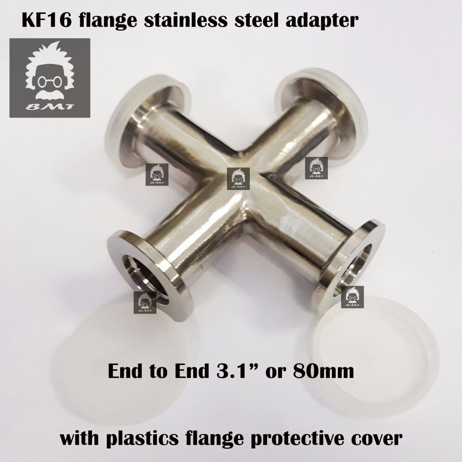 KF16 Cross 4-way vacuum adapter, all ends KF16 flange SS 304, finely polished