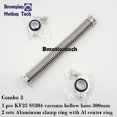 "KF25 flange vacuum bellow hose 300mm 11.8""  with 2 sets Al clamper & O-ring"