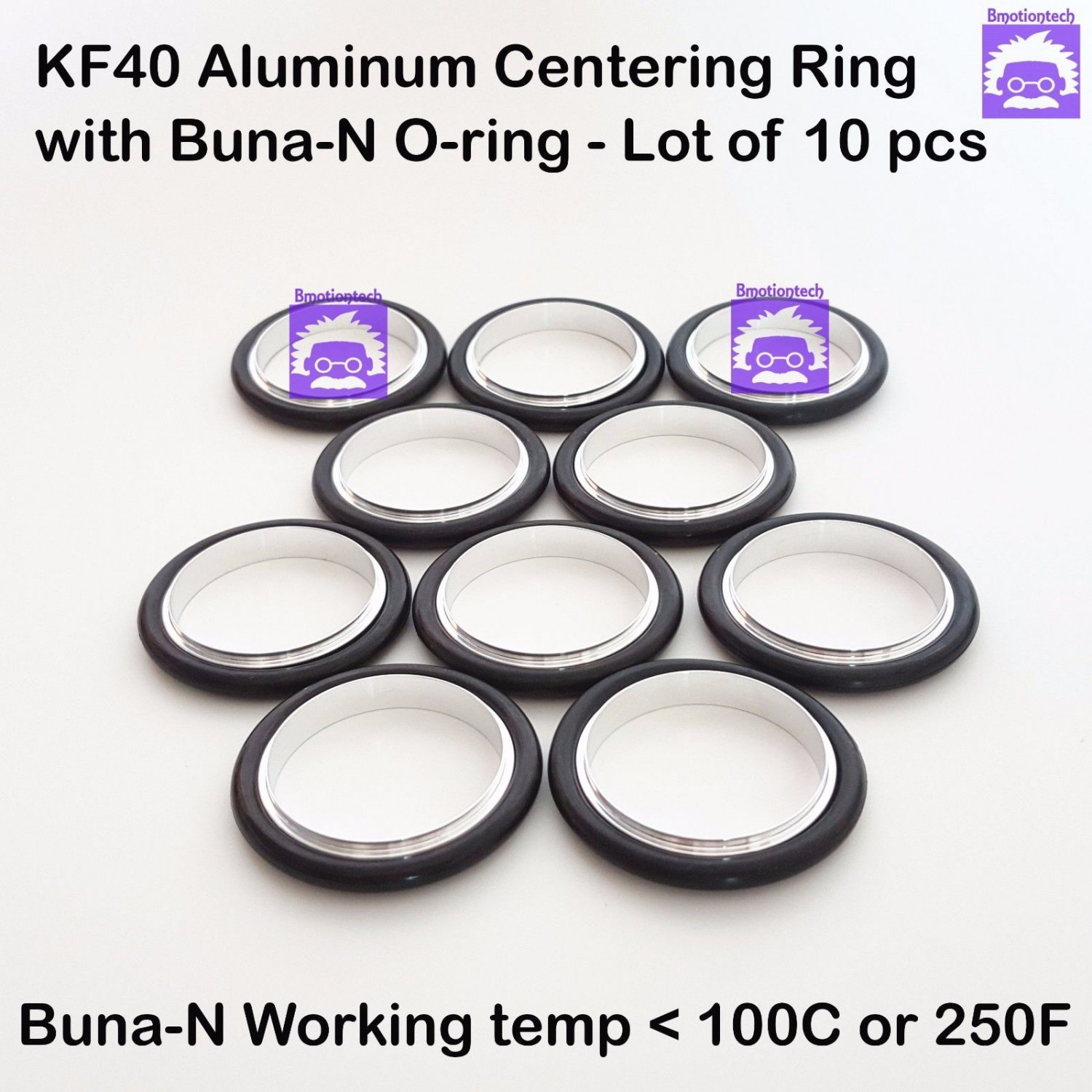 KF40 Aluminum Vacuum Centering Ring with O-ring = Buna-N  �10pcs pack)