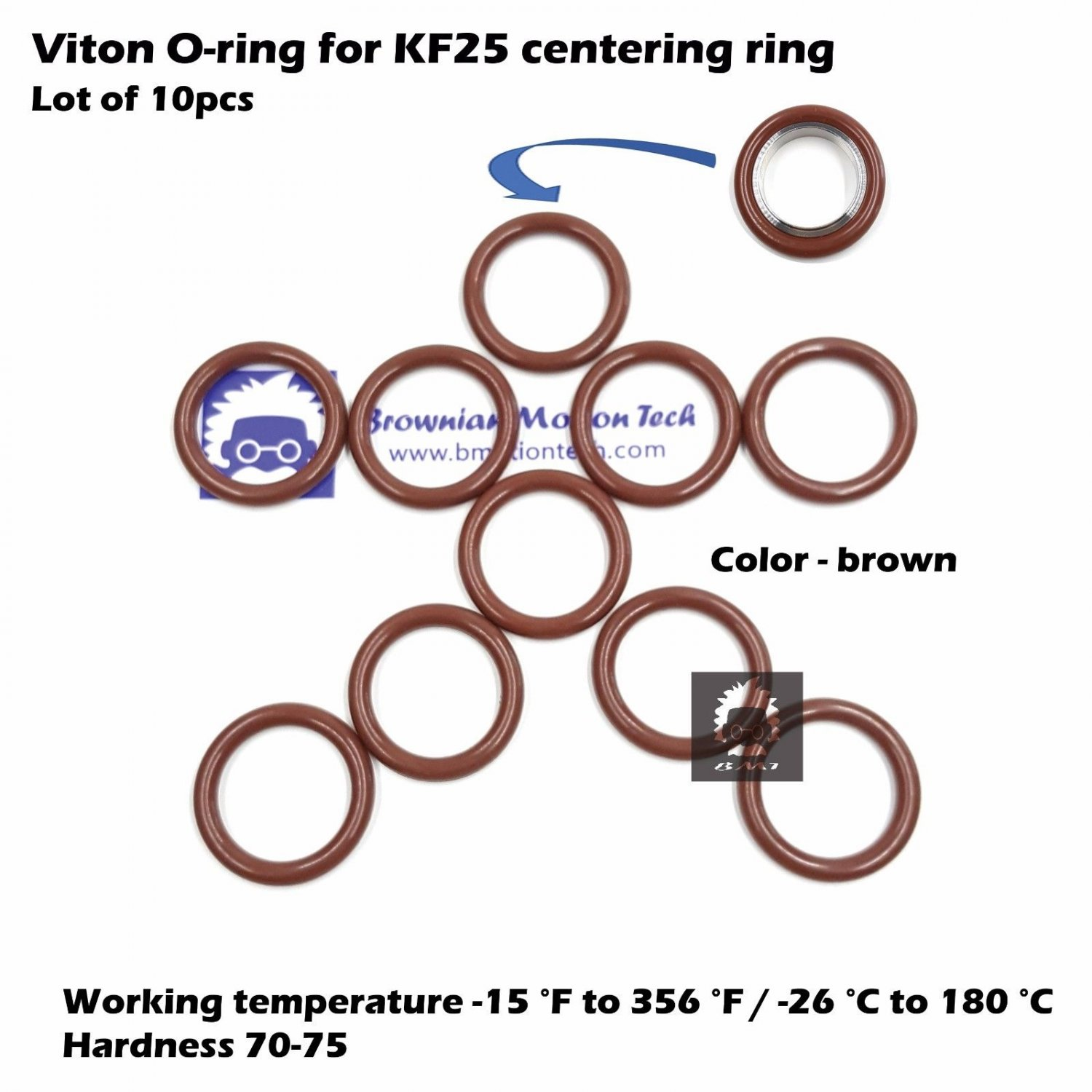 10 pcs KF25 flange centering ring O-ring / Material = Viton / Size AS-320