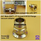 "Male BSPT 3/4"" X KF25 Flange stainless steel vacuum adapter BSPT = PT Rc thread"