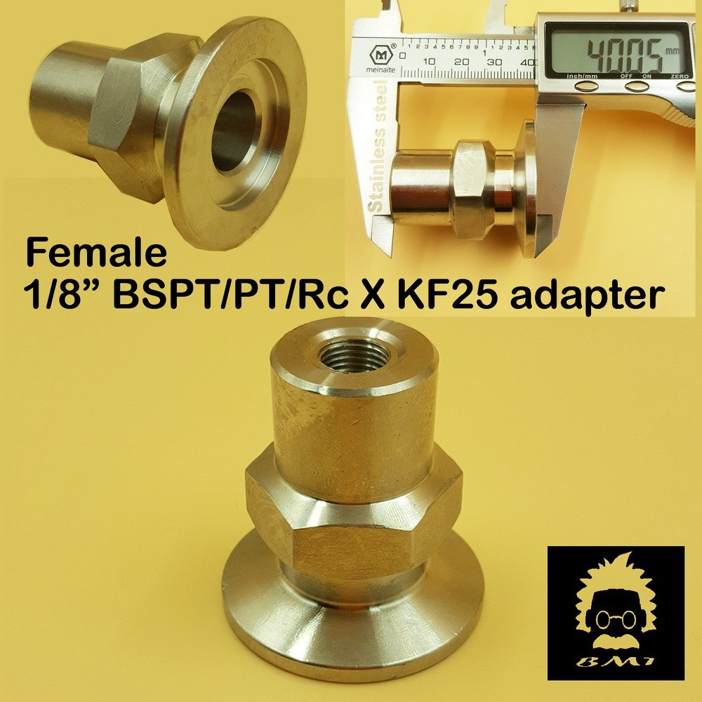 "Female BSPT 1/8"" X KF-25  stainless steel vacuum adapter BSPT = PT Rc thread"