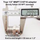 "True 1/2"" Male NPT X KF16 flange stainless steel vacuum adapter MNPT"