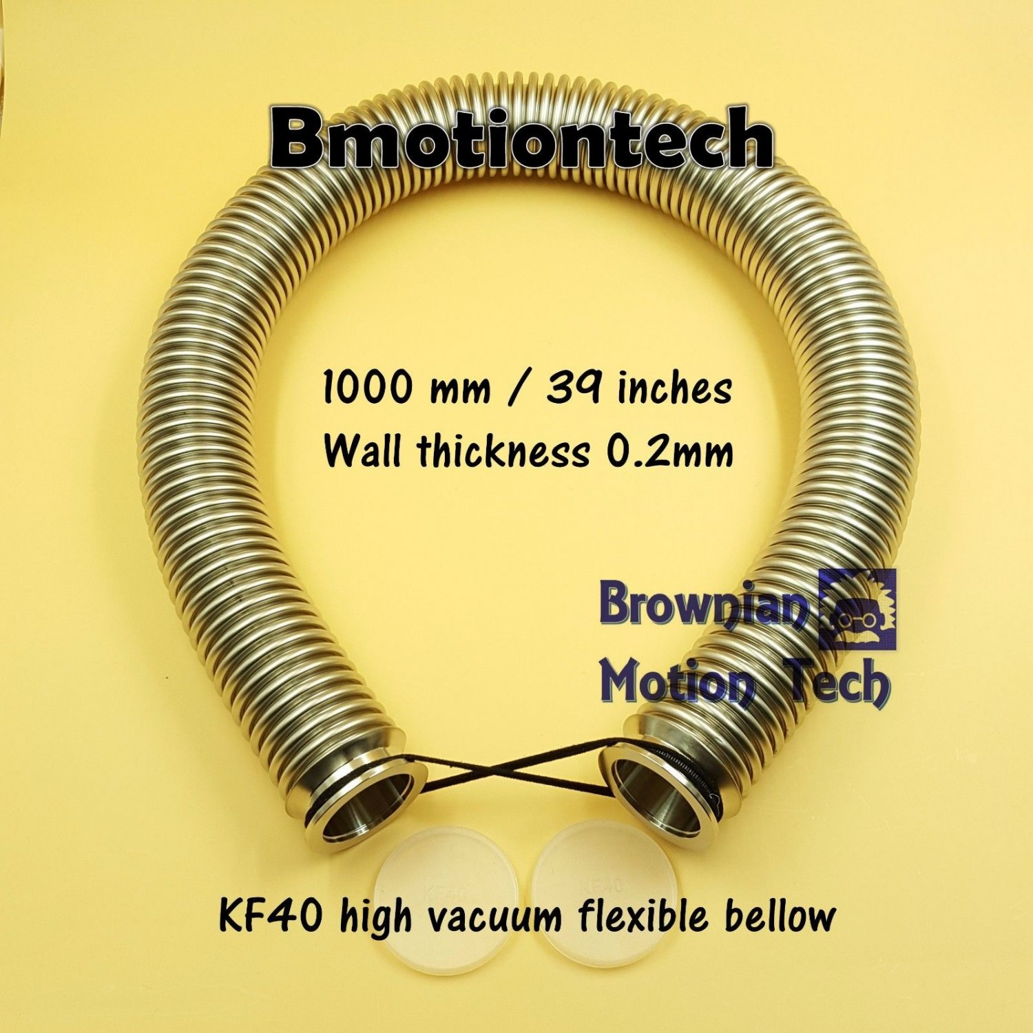 "KF40 Flange, 1m / 39"" high vacuum flexible bellow, SS304, Wall thickness .2mm"