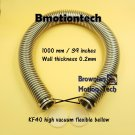 """KF40 Flange, 1m / 39"""" high vacuum flexible bellow, SS304, Wall thickness .2mm"""
