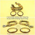 2 Sets of KF-40 Stainless Steel Vacuum Clamp ring & Center ring w/ viton O-ring