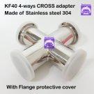 KF40 Cross 4-way stainless steel 304 vacuum adapter, all ends KF40 flange