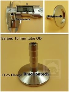 10 mm OD barbed hose X KF25 flange stainless steel vacuum adapter