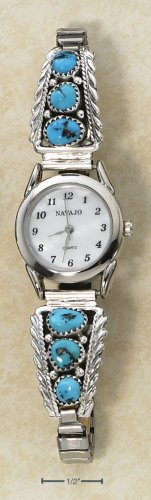 STERLING SILVER LADIES MOP FACE W/ (2) 3-STONE TURQUOISE NUGGET TIPS WATCH