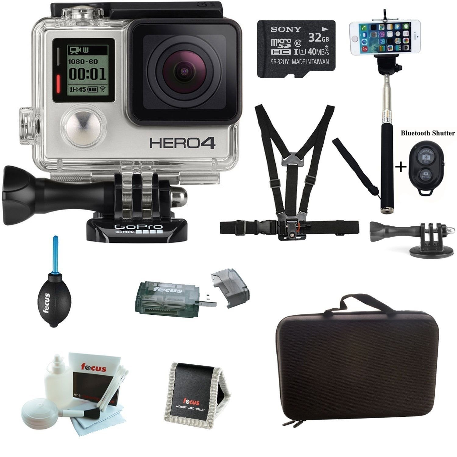 Brand New Gopro Hero4 Silver Edition Camera Hd Camcorder +Sony 32gb Sd Card