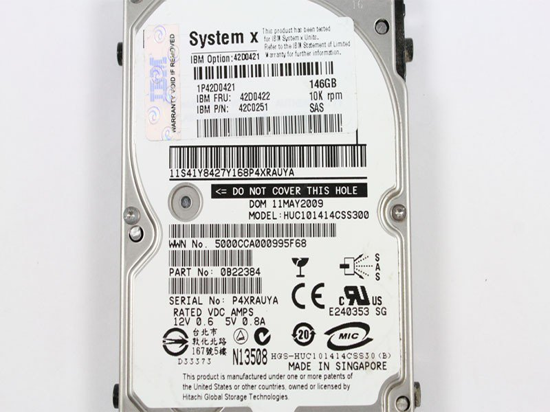 IBM LAPTOP 146GB 2.5IN SAS HDD 42D0421 HUC101414CSS300