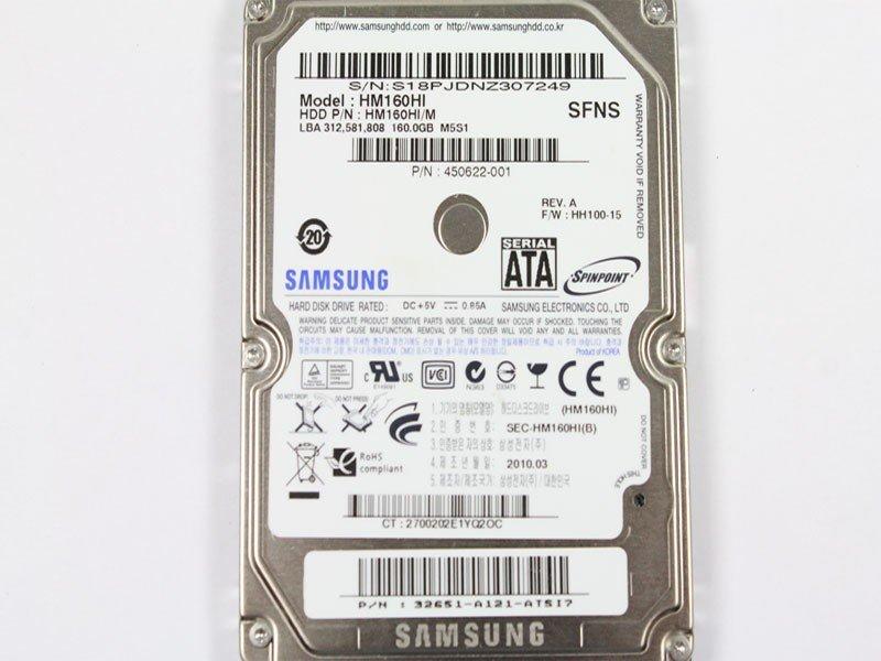 SAMSUNG 160 GB HM160HI HH100-15 SATA 2.5INCH HARD DRIVE