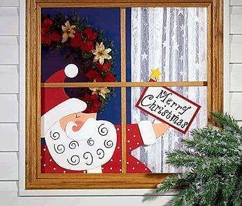 NEW SANTA CLAUS WINDOW SIGN MERRY CHRISTMAS GREETING Large Wood Saint Nick Holiday Peeper 2 pc Set