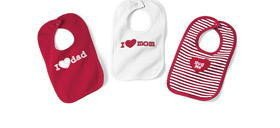 NEW BABY VALENTINE'S DAY BIBS 3 Different Cute Designs Infant Meal Time Protection Mom Dad Hug Me