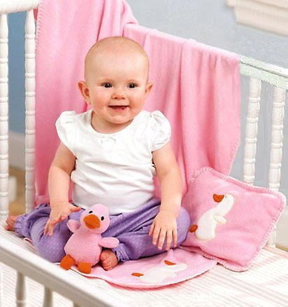 NEW BABY GIRLS DUCKY CRIB BLANKET 3 PC SET Solid Pink Infant Nap Pillow & Duck Rattle Toy