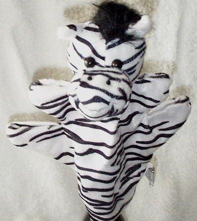 BLACK & WHITE ZOO ANIMAL PUPPET ZEBRA Kids Stripe Velour Safari CHILDREN'S Theater Hand Toy