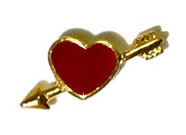 NEW RED & GOLD PLATED HEART ARROW PIN Saint St Valentine's Day Holiday Lapel Brooch Friend Love Gift