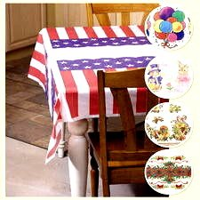 "5 Multi-Occasion Holiday TABLECLOTHS NEW Vinyl 52""x72"" July 4-Christmas-Easter-Thanksgiving-Birthday"