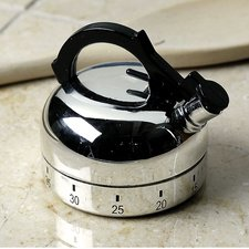 TEA POT KITCHEN TIMER NEW Winding Baking/Oven Silvertone Teapot Bakeware Decor