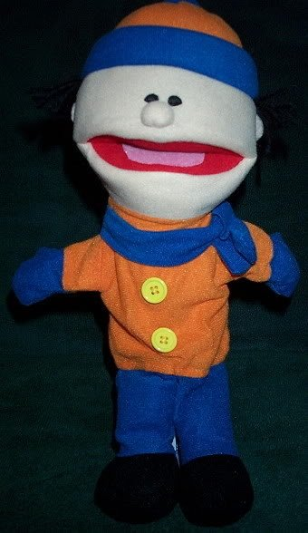 NEW BOY PUPPET WINTER ORANGE COAT BLUE PANTS & CAP Whole Body Children's Hand Toy