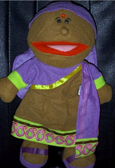 NEW INDIA WOMAN/GIRL PUPPET Purple & Brown Outfit Children Multicultural Full Body Hand Toy