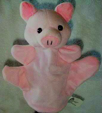 SOFT FARM ANIMAL PUPPET PIG/PIGLET/PIGGY NEW Kids Velour CHILDREN'S Theater Play Hand Toy