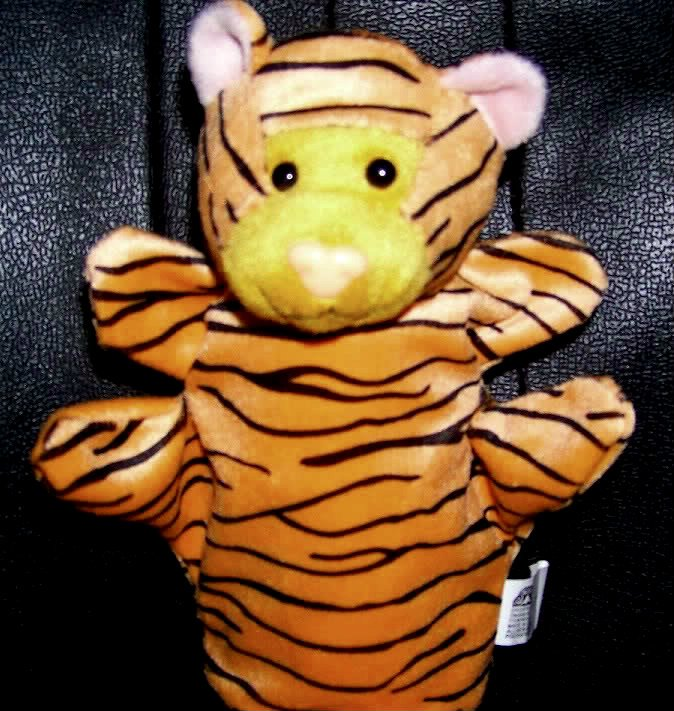 SOFT ZOO ANIMAL PUPPET TIGER NEW Velour Kids Play Theater Hand Toy