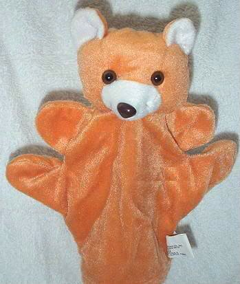 SOFT PUPPET ZOO ANIMAL PUPPET BEAR Kids Brown Forest Velour CHILDREN'S Theater Hand Toy