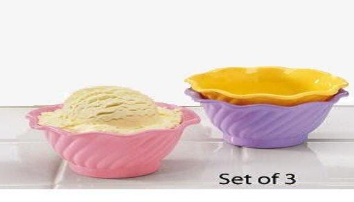 NEW PASTEL ICECREAM BOWLS 3 pcs Multi-Use Plastic Snack Condiment Table Dishes Children's Bowl Set
