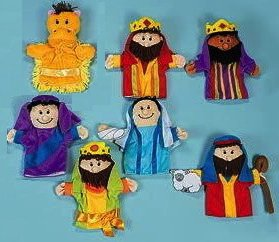KIDS 7 CHRISTMAS NATIVITY CHILDREN'S HAND PUPPETS Joseph Mary Jesus Shepherd 3 Wisemen & Camel Set