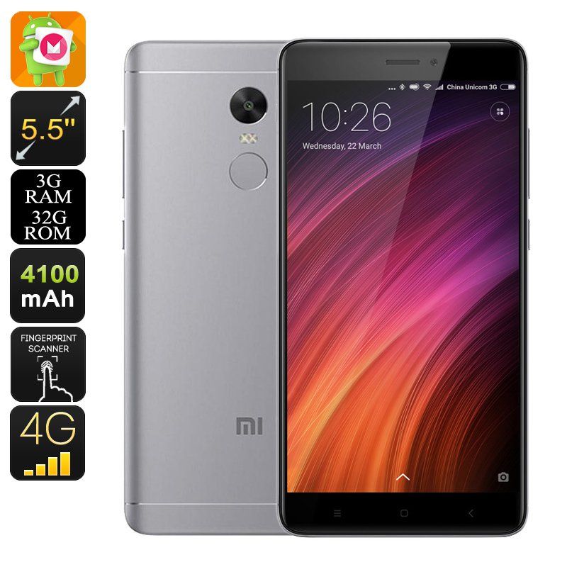 """Android Phone Xiaomi Redmi Note 4X - SnapDragon 625 CPU, 2GHz, 3GB RAM, 5.5"""" Display (Grey)"""