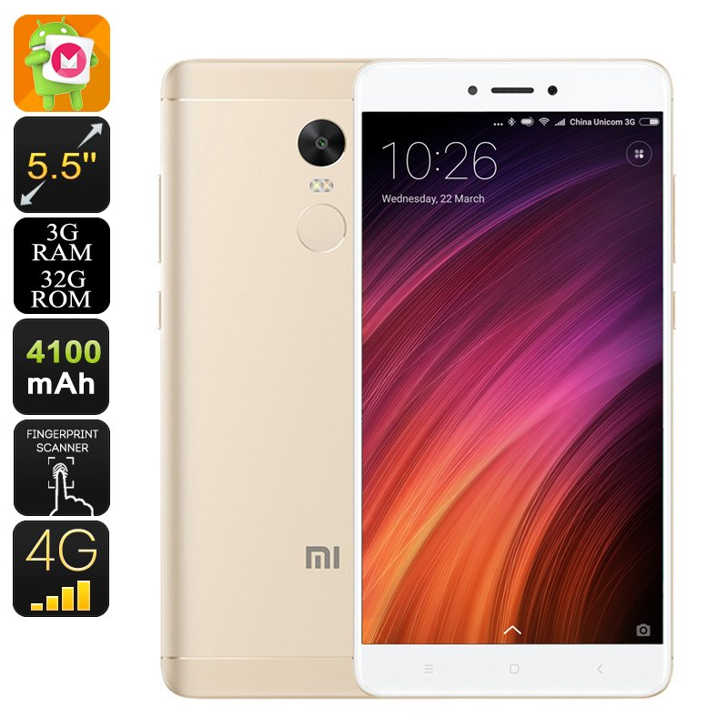 """Android Phone Xiaomi Redmi Note 4X - SnapDragon 625 CPU, 2GHz, 3GB RAM, 5.5"""" Display (Gold)"""