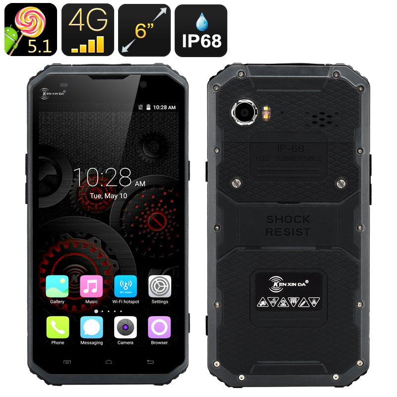 KEN XIN DA PROOFINGS W9 Rugged Smartphone - Android 5.1, 4G, 6 Inch FHD Screen, IP68  (Gray)