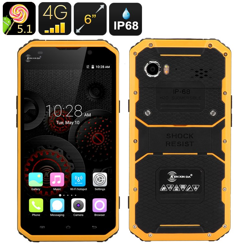 KEN XIN DA PROOFINGS W9 Rugged Smartphone - Android 5.1, 4G, 6 Inch FHD Screen, IP68  (Yellow)