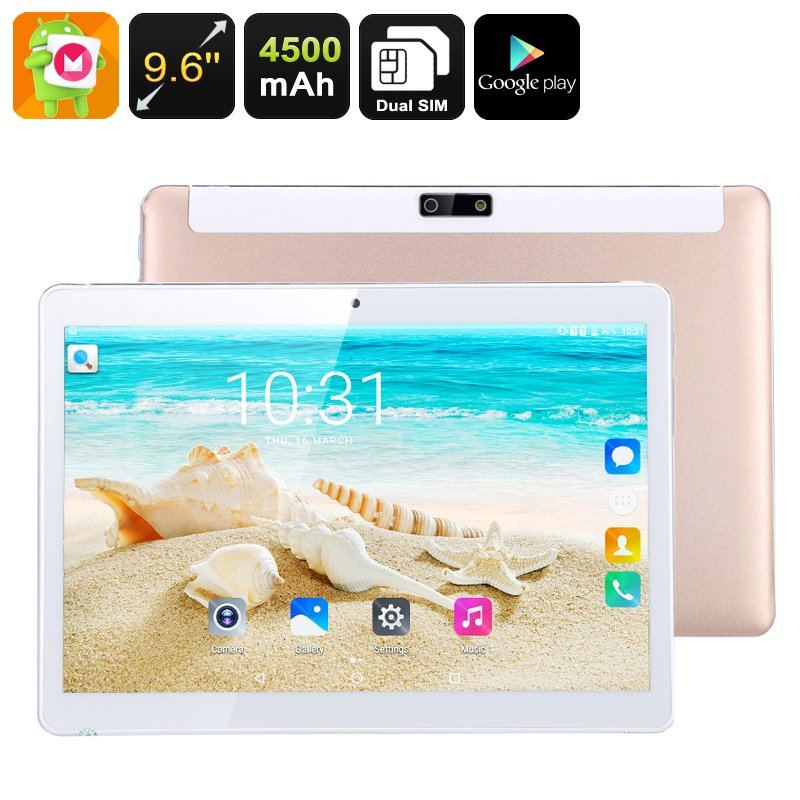 3G Android Tablet Computer - 9.6 Inch IPS Display, Android 6.0, Quad-Core CPU