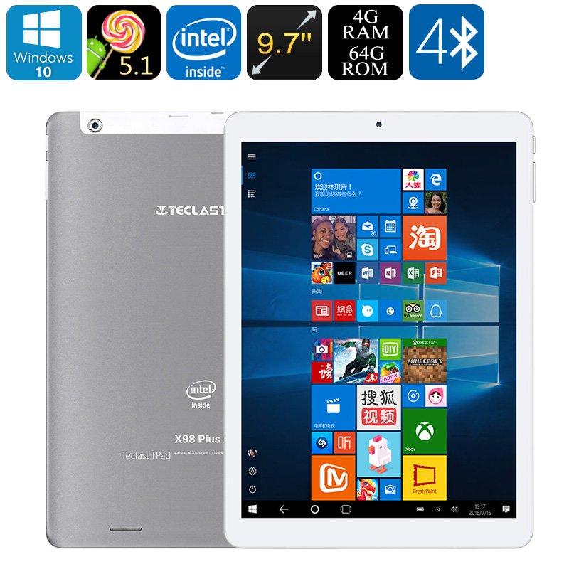 Teclast X98 Plus 2 Tablet PC - 9.7-Inch Display, 2048x1536p, Windows 10, Android 5.1, Quad-Core CPU