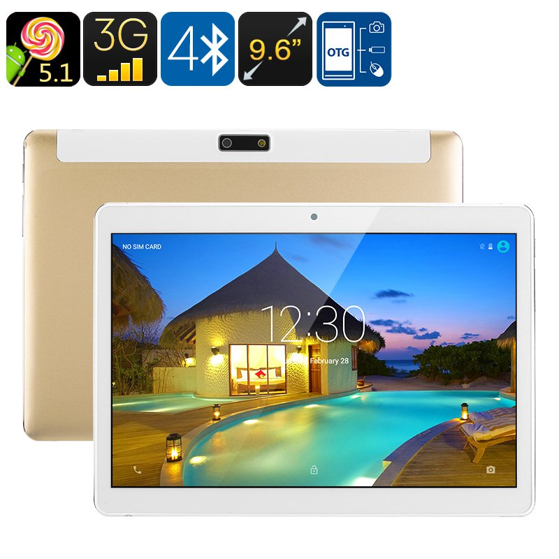 "3G Android Tablet PC - Android 5.1, Dual-IMEI, Google Play, OTG, Quad-Core CPU, 9.6"" Display"