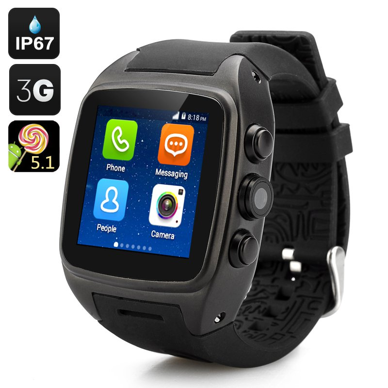 """iMacwear SPARTA M7 Smart Watch Phone - IP67 Waterproof Rating, 1.54"""" Touch Screen, Android 5.1 OS"""