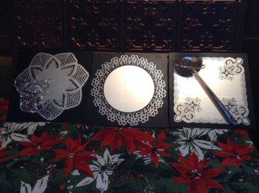 vintage wall mirror decor black silver lace design Wisniewski Lorenzatti