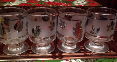 Vtg MCM libbey silver leaf rocks tumblers glasses stem barware rock