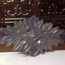 Vtg Metal furniture applique medallion wood paintable crest
