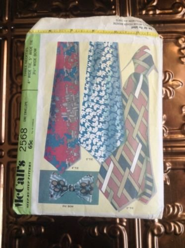 Vtg 1970s men's neck tie bow sewing pattern McCall's 2568